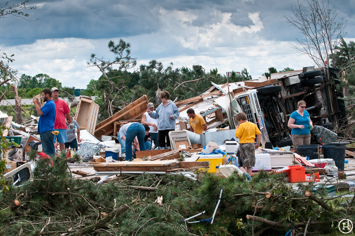 The aftermath of the tornado that swept through Northwest Ohio on June 5, 2010